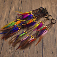 1Pc Fashion Boho Feather Hair Extensions with Dreadlock Beads Hair Jewelry Decor
