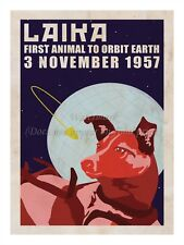 "Soviet Russian Space Propaganda Poster Print LAIKA SPACE DOG 1957 18x24"" #SP016"