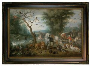 Brueghel Paradise Landscape with Animals Wood Framed Canvas Print Repro 12x18