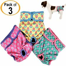 PACK - 3 Female Dog Diapers Cat LEAK PROOF Waterproof Washable Small Large Pet