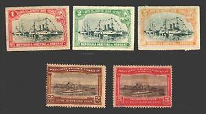 Uruguay #174-178 MH stamps battleship cruiser port Montevideo ships boat Hotel