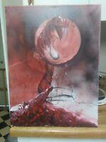 Bloodlet, original, acrylic, signed, surrealism, fantasy