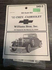 Williams Bro Inc '32 Chev. Cabriolet H0 Scale Kit No. 545-3 Model Car Kit