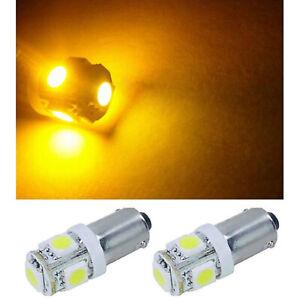 (2) Yellow Amber 5-LED Dash Panel Cluster Gauge Clock Glove Box Light Bulbs Pair