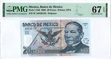 Mexico 20 Pesos 2003 PMG 67 EPQ s/n A6530129 Serie W POLYMER