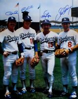 Dodger Infield Signed Autographed 16X20 Photo Cey Lopes Garey Russell Vert JSA