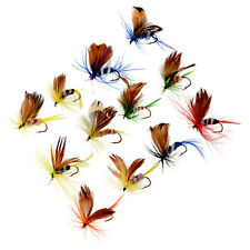12Pcs 2cm Wet Dry Trout Flies Fly Fishing Bass Lure Hook Stream Tackle Kit New