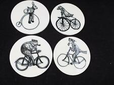 Ceramic Coaster Set with Metal Stand Animals on Bicycles Design.