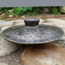 Tibetan Taoism Religious Ritual Activities Hand Bell Bronze Black Cymbals #1578