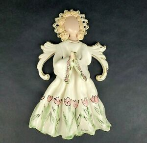 Blue Sky Clayworks 2002 Heather Goldminc Angel Wall Plaque Hearts Roses