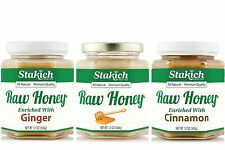 GIFT 12oz Raw Honey + 12oz Ginger Raw Honey+ 12oz Cinnamon Raw Honey Natural