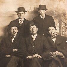 Antique Postcard Gentlemen Cigar Smoking RPPC Vintage Photo Hats Unposted