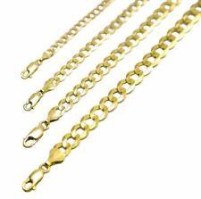 "14k Oro Amarillo MacIzo Eslabón Cubano Cadena Collar 1.5-12mm para hombres Para mujeres talla 16"" -36"""