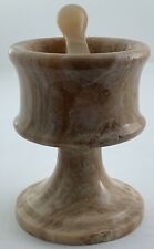 "Onyx Stone Multicolor Polished Marble Classic Mortar & Pestle 4-1/4"" inches Tall"
