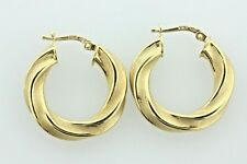 """Italy 18K 750 Yellow Gold Brush Finish Twisted Round 0.75"""" Hoop Earrings"""