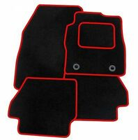 Ford Fiesta mk8 (2011+) Tailored Black + RED TRIM Car Floor Mats Carpets + Clips