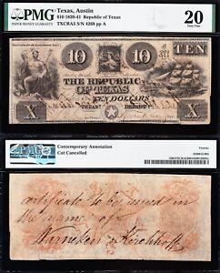 *Rare* VF 1840 $10 REPUBLIC of TEXAS Obsolete Note! PMG 20! FREE SHIP! 4268