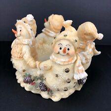 Kirkland's Holiday Candle Holder Christmas Snowmen Holding Hands