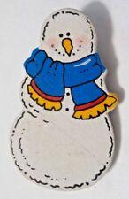 Vintage Wooden Snowman Brooch Pin