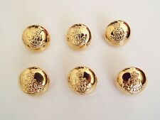 6 CLASSIC GOLD COLOUR 'METAL LOOK' MILITARY STYLE BLAZER COAT BUTTONS  15mm