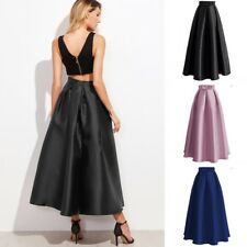 Satin Retro Long Skirts Womens A Line Solid High Waist Formal Party Skirts