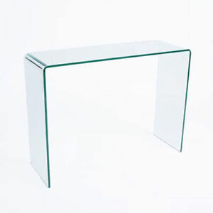 CURVED GLASS CONSOLE TABLE SMALL LARGE CLEAR DINING BENT HALL END TABLE SIDE