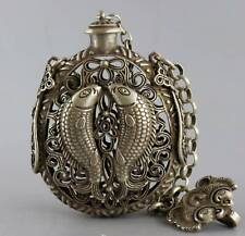 Collect Old Tibet Silver Hand-Carved Double Fish Moral Auspicious Snuff Bottle