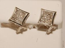 14k white Gold and diamond men/ladies earrings stud earrings screw back studs