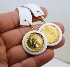 14K ITALIAN 20 LIRE AGATE BEZEL LEVER BACK EARRINGS
