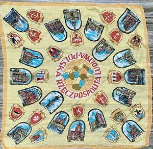 "Vintage POLAND CITIES Souvenir Scarf Sheer Yellow 31"" X 30"""