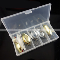 12pcs Metal Fishing Lures Bass Crank Bait Trout Spoon Lures w/ Feather Jig Hooks
