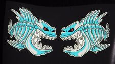 """(2) Skeleton Fish Vinyl Decals for Boat Car Truck 6"""" x 5.75"""" 3m REFLECTIVE  BLUE"""