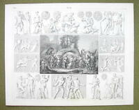 MOUNT PARANSSUS Gods Dionysian Mysteries Faunus - 1844 SUPERB Engraving Print