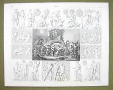 MOUNT PARANSSUS Gods Dionysian Mysteries Faunus - 1844 SUPERB Engraving Print
