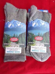 2 Pair Medium Clear Creek 56% Merino Wool Hiker Sock  Men Women 9-12