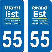 2 Stickers style immatriculation auto Département Grand-EST MEUSE 55