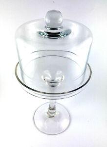 Bonboniere Glasglocke Glas mit Fuß Deckel Patisserie mit Haube