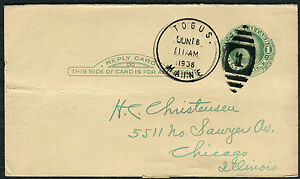 Postcard - Togus ME TO Chicago IL - JUN 16 1938 NUMERAL DUPLEX STAMPLESS - S6395