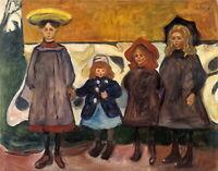 """EDVARD MUNCH Art Poster or Canvas Print """"Four Girls in Åsgårdstrand"""""""