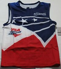 2016 USA Unisex Sleeveless Half Zippered Triathlon Cycling Jersey