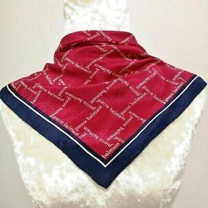 "Pierre Balmain NeckScarf Red Monogram Check Silk22"""