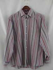 Men's Alan Flusser Long Sleeve Button Front Striped Shirt Size L