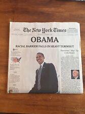 2008 New York Times Newspaper Barack Obama Elected President
