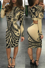 New black & nude ornament print midi dress club wear party wear Size UK 10