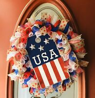 ❤️USA 🇺🇸PATRIOTIC MEMORIAL DAY 4TH OF JULY DECO MESH CURLY WREATH!💙HANDMADE❤️