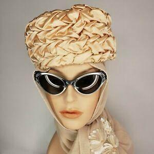 Vintage Satin Pillbox Hat 50s Spring Wedding Chapeau Photo Prop Peachy Melon