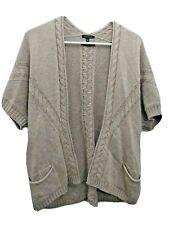 Massimo Dutti Womens Small Tan Cable Knit Cardigan Sweater Wool Cashmere Angora