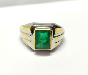 Emerald Ring Men Heavy Emerald Ring 6x8 Octagon 1.5 Ct Emerald Vintage Ring