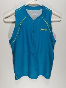 Womens Zoot Triathlon Cycling Jersey Sleeveless Tank Teal/Yellow Size Large L