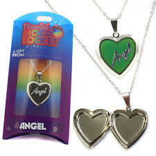 Personalised Name Colour Mood Heart- Shaped Silver Locket Necklace - PML1 Angel
